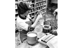 Hornsea Pottery flashback images - Dated 2nd April 1966 -  Sticking handles onto pot mugs at Hornsea Pottery, East Yorkshire
