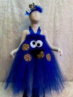 Fits 2T - 4T, Cookie Monster Tutu Halter Style Dress, Halloween Costume, Sesame Street Theme Birthday Tutu, Dress Up Fun, Ready to Ship!