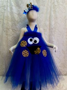 Fits 2T - 4T, Cookie Monster Tutu Halter Style Dress, Halloween Costume, Sesame Street Theme Birthday Tutu, Dress Up Fun, Ready to Ship!