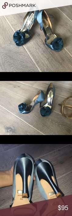 Badgley Misckha teal blue heels Beautiful heels satin very comfortable very nice for a wedding teal blue..............................,,,,,,,,,,,,,,,,,,,,,,,,,,,,,,,,,,,,, key words; bridal shoes bride shoes wedding day something blue Badgley Mischka Shoes Heels