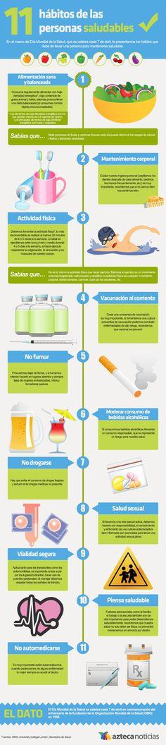 11 hábitos de las personas saludables #Infografía