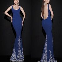 Sexy 2015 Mermaid Evening Dresses With Crystal Hem Trim Tank Square Neck Woman Evening Low Open Back Dresses For Foraml Evening