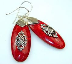 Modern Design Of Red Coral Silver earrings