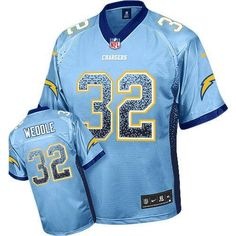 Mens Nike NFL San Diego Chargers #32 Eric Weddle Electric Blue Elite Drift Fashion Jerseys