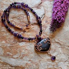Celtic inspired Triskelion Necklace - Bronze with Blue Goldstone and Amethyst ABBY Hook