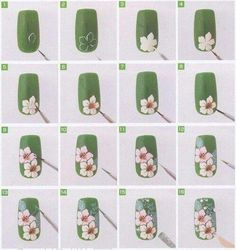 White Daisy, Orchid, flowers on Green Nails How-to, Tutorial, Free hand nail art Daisy Nail Art, Daisy Nails, Flower Nail Art, Diy Flower, Nail Art Designs, Floral Designs, Nail Techniques, Trendy Nail Art, Green Nails