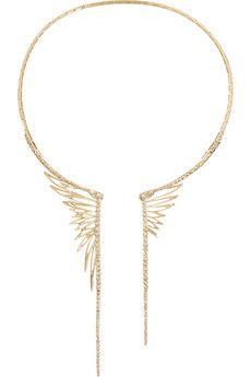 CristinaOrtiz 9-karat rose gold diamond wing necklace | NET-A-PORTER--LOVE (though 40k, yikes!)
