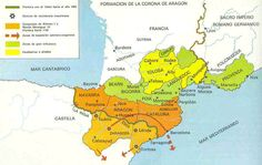 The Crown of Aragon before the Battle of Muret in 12 September between Simon lV de Montfort and King Peter ll of Aragon. Peter ll was killed during the battle. Map Of Spain, Nose Art, Historical Maps, Middle Ages, Planer, Medieval, Battle, Diagram, Culture