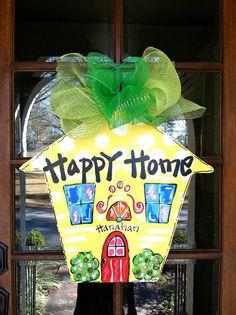Happy Home Door Hanger  Bronwyn Hanahan by BronwynHanahanArt, $45.00