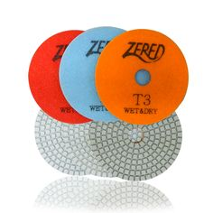 """4"""" 3 STEP PAD, T SERIES Stone Polishing, Wholesale Diamonds, Wet And Dry, Triangle, Copper, Dots, Metal, Stitches, Metals"""