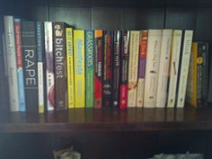 One of my many bookshelves... this is what a feminist reads.