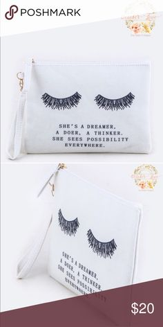 COMING SOON!!!!!! Mini clutch or makeup pouch L9xW1xH7 made of canvas and has a zip closure. Want some makeup, skin care or hair care samples? Add $10 for 5 mini samples and $15 for 1 full size product and 4 mini's. October Love Bags