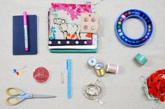 the makings of a sewing kit for 7-10 year olds