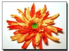 CROCHET PATTERNS (Crochet Flower Pattern #152 Orange Gerbera) -Crochet & Knit Design Heaven