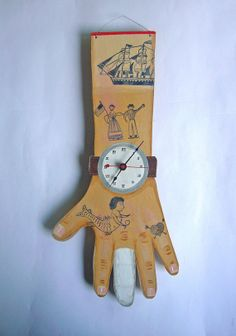 Hand painted clock with ship, man, woman and mermaid tattoos