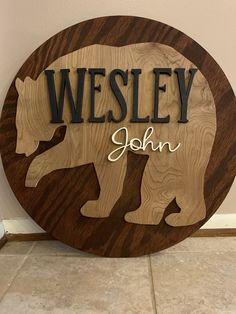 Custom round name sign for a rustic nursery. Country Baby Names, Baby Girl Names Spanish, Cute Baby Names, Boy Names, Name Decorations, Baby Name Signs, Rustic Nursery, Cabin Furniture, Western Furniture