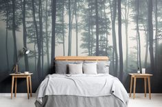 Check out the Sea of Trees Forest Mural Wallpaper, a minimal forest wallpaper design that will impress. With soft grey tones you can achieve a modern look. Tree Wallpaper Mural, Tree Wall Murals, Forest Wallpaper, Mountain Wallpaper, Bedroom Wallpaper Nature, Woodsy Bedroom, Forest Bedroom, Tree Bedroom, White Bedroom