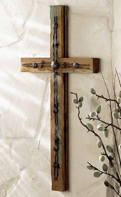 Old Wood Cross w/ Barbed Wire $129.95