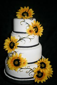 Sunflower 4 Tier Wedding cake