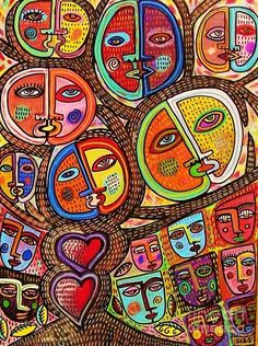 Tree Of Life Talavera Lovers Painting  - Tree Of Life Talavera Lovers Fine Art Print