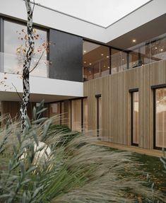 Zahorska on Behance Facade Design, Exterior Design, Architecture Design, House Design, Room Interior Colour, Modern House Facades, Small House Decorating, Dream House Exterior, Concrete Design