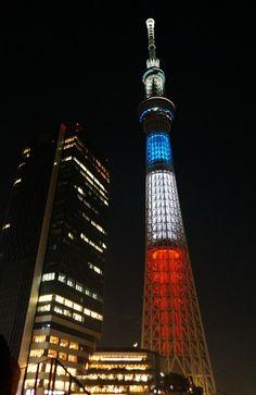 フランス国旗のトリコロールに点灯した東京スカイツリー - Yahoo!ニュース(THE PAGE)