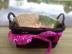 Gift Basket with 2 handmade soaps Gift for him or by LushSoapofGa