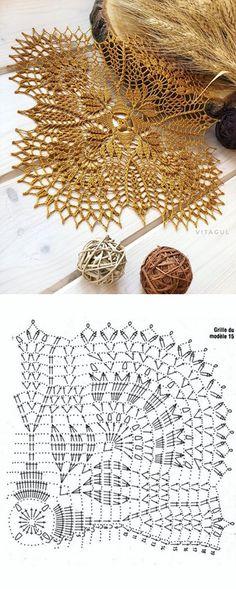 Fashion and Lifestyle Crochet Doily Diagram, Crochet Doily Patterns, Crochet Blocks, Crochet Chart, Crochet Squares, Thread Crochet, Filet Crochet, Crochet Motif, Crochet Designs