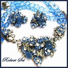 Vintage ROBERT Set Necklace & Earring Blue Glass Crystals Rose Montee Filigree Haskell Style
