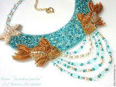 Buy unique handmade beaded necklace. Sea  inspiration - goldfish and sea stars. Beaded jewelry by Ulyana Moldovyan.