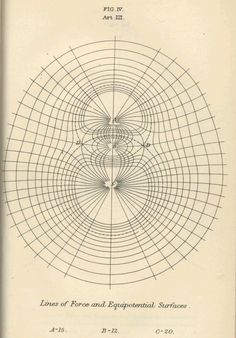 James Maxwell, lines of forces and equipotential surfaces, diagram in A Treatise on Electricity and Magnetism