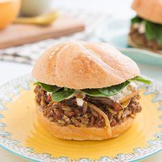 {recipe} Freekeh Bean Burgers with Harissa Onions. Veggie burgers don