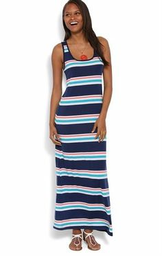 Deb Shops Racerback Maxi Dress with Varied Stripes and Tank Straps $11.92