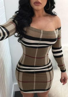 Coffee Off Shoulder Striped Plaid Print Long Sleeve Sexy Bodycon Mini Dress Stylish Outfits, Fall Outfits, Cute Outfits, Fashion Outfits, Dress Fashion, Fashion Games, Fashion Photo, Fashion Fashion, Sexy Dresses