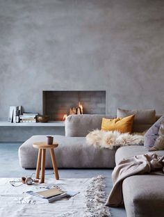 2018 interior decor trends, concrete living room decor