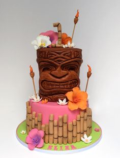 Pink Tiki Cake - Cake by Very Unique Cakes by Veronique