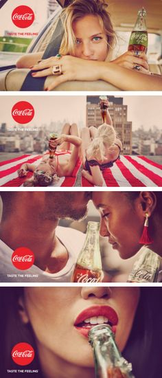 "Coca-Cola's ""Taste the Feeling"" print and out-of-home campaign, 2016. Photographed by Guy Aroch and Nacho Ricci."