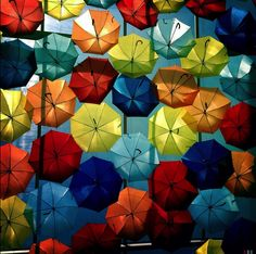 New Colorful Canopies of Umbrellas in Portugal - My Modern Metropolis