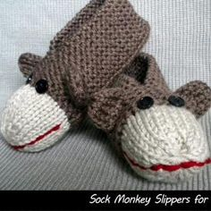 Sock Monkey Slippers for Men and Women. I can make this with my basic kid pattern, just changing color at the toe, and embroidering lips, attaching button eyes, and ears.