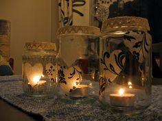 Sokkiksen räpellykset: askartelu  Candle, glass jar, diy Glass Jars, Candle Holders, Candles, Diy, Glass Pitchers, Bricolage, Porta Velas, Diys, Handyman Projects