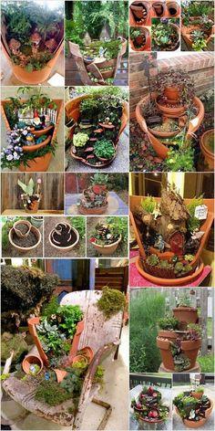 Broken pots became brilliant Fairy Garden ideas, # . Broken pots became brilliant Fairy Garden ideas, # … – DIY garden design Broken Pot Garden, Fairy Garden Pots, Fairy Garden Houses, Gnome Garden, Garden Planters, Fairies Garden, Fairy Garden Images, Potted Garden, Succulent Planters