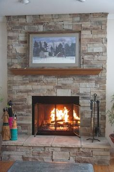 Stone Fireplace -like the color of the stone