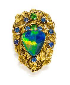 Tiffany OFF! A black opal sapphire and demantoid brooch Louis Comfort Tiffany Tiffany Co. Tiffany Jewelry, Opal Jewelry, Fine Jewelry, Jewelry King, Jewellery, Tiffany & Co., Tiffany Glass, Antique Jewelry, Vintage Jewelry