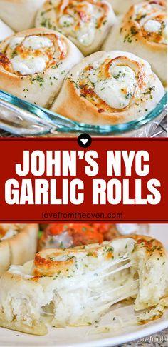 Cheesy Garlic Rolls - John's Garlic Rolls Copycat • Love From The Oven #garlicrolls #garlicbread #dinner #recipes #baking #food #lftorecipes