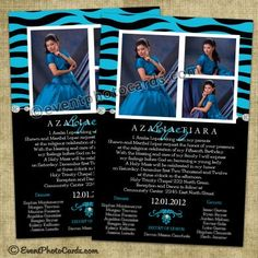 Zebra Aqua Quinceanera Invitations, Sweet 15 Invites