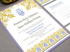 Indian Wedding Invitation Suite, Modern Wedding Invitations Purple and Yellow, Damask Wedding Invites, Victorian Wedding Invitation Set