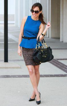 How to wear peplum pencil skirt leopard cobalt blue trend