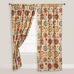 Suzani Prints Are Known For Their Intriguing And Intricate Design A Staple In Central Asia Making Our Gold Red Cotton Curtains An Eclectic