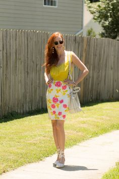 Trending Color- Yellow - Worn with My Floral Pencil Skirt - Elegantly Dressed and Stylish -Fashion Over 50