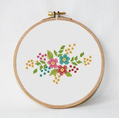 retro flowers cross stitch pattern counted cross stitch
